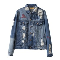 QQ-85-3701 European style fashion personality to do the old hole denim jacket lapel coat embroidered letter 0322