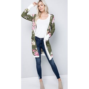 Hailey Olive Floral Cardigan