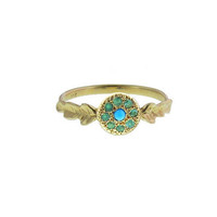 Turquoise and Emerald 2-Leaf Signet Ring