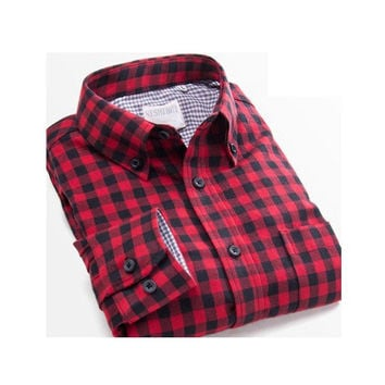 Men's Leisure Style Flannel Wear-Resistant Plaid Contrast Color Shirts