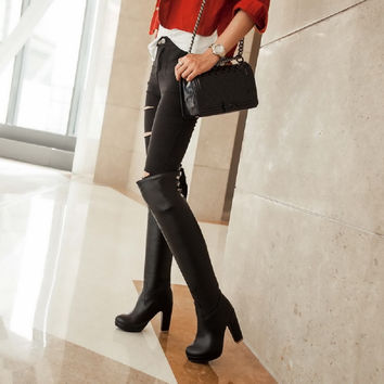 Winter Women Pu Slim Thigh High Black Boots Sexy Fashion Over the Knee Large Size 34-43  High Heels women boots XW-12