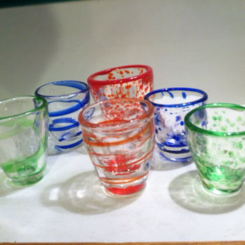 Made to Order Hand Blown Shot Glasses in a variety of patterns, colors.  Groomsmen's gifts, Graduation Gifts