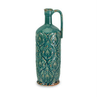 Pitcher Vase - Turquoise Glaze On Damask Imprint