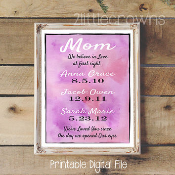 Creative Mom Gift Personalized Dates Print for Mother Custom Children's Birth dates Mother's Day Gift Wife Gift Watercolor Printable Art