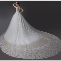 A-Line Sweetheart Straps Luxury TrainLace Appliques Wedding Dress # 90938389