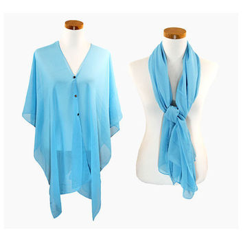 Turquoise Multi-Way Sheer Cover Up Poncho Scarf with Buttons