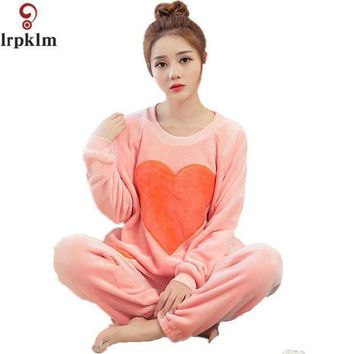 CREYCI7 Women Girls Sleep Lounge Home Long Sleeve O-neck Heart Sweatshirts Long Pants Autumn Winter Warm Fleece Soft Pajama Sets SY339