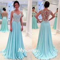 Ice Blue Cap Sleeves Chiffon Long Prom Dress With Applique And Sheer Back