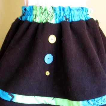 Handmade Black Fleece Mini skirt With Vintage Buttons