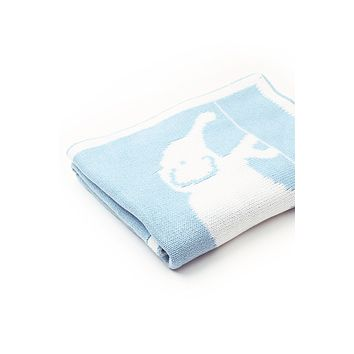 Light Blue Cute Elephant Pattern Baby Swaddle Blanket