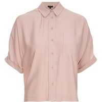Dusty Pink Short Sleeve Roll Up Shirt - Tops - Clothing