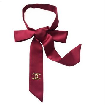 CHANEL Pure silk narrow silk scarf women long strip scarf decoration tie women professional thin scarf