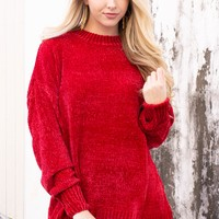 Charlotte Ribbed Chenille Sweater | Red