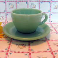 Fire King Jadeite C Handle Cup with Saucer, Restaurant Ware Fire King Cup and Saucer