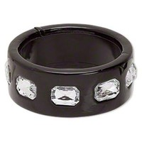 Slick Black PU Vinyl and Rhinestones Chunky Mod Retro Wide Bangle Bracelet