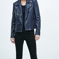 Veda Lazer Classic Leather Biker Jacket in Navy - Urban Outfitters
