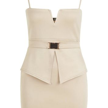 V Bar Buckle Detail Peplum Dress | Boohoo