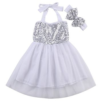 Kid Baby Girls Lace Sequins Sleeveless Dresses Newborn infant tulle dress