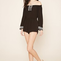 Embroidered Gauze Romper