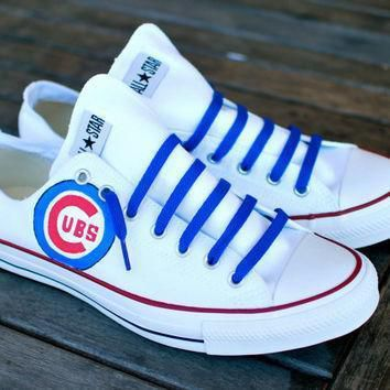 custom hand painted converse chicago cubs on chuck taylor all star low top sneakers