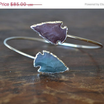 ON SALE Upper Arm Cuff /// Lux Divine Double Arrowhead Gemstone Arm Wrap/// Silver