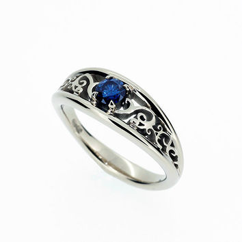 Blue sapphire filigree engagement ring, white gold, yellow gold,  filigree engagement ring, solitaire, wedding ring, unique, blue wedding