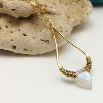Gold Filled & Rainbow Moonstone Pentagon Necklace - Geometric, Gemstone, Wire Wrapped - wire jewelry by cristysjewelry