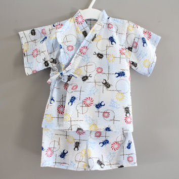 Free Shipping Handmade Japanese firework and beetle pattern jinbei kimono set baby to toddler fits 12 to 24 months