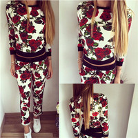 Red Floral Print Long Sleeve Sweatshirt with Jogging Pants