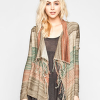 Full Tilt Fringe Stripe Wrap Sweater Multi  In Sizes