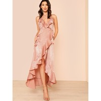 Satin Ruffle Front Maxi Dress ROSE