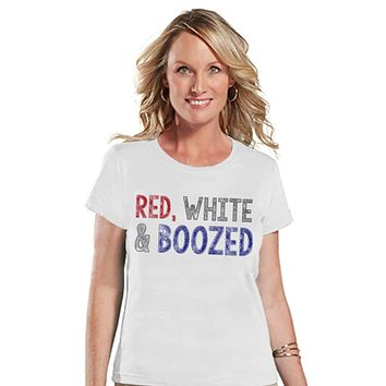 Women's 4th of July Shirt - Red White & Boozed Shirt - Fourth of July T Shirt - White Tee - Fourth of July Outfit - Funny 4th of July Shirt