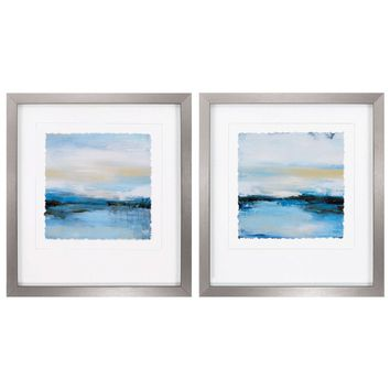 Dreaming Blue 2 Piece Framed Painting Print Set