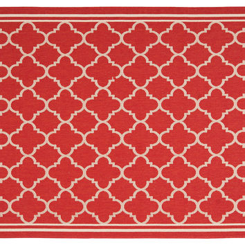 Lark Outdoor Rug, Red/Bone, Area Rugs