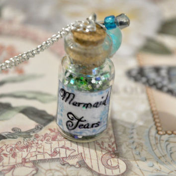 Mermaid tears bottle necklace charm and beads