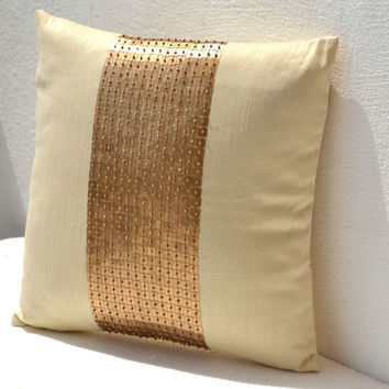 Gold pillow -Cream silk Pillow -Silk cushion -Gold cushion -18x18 - gift -sofa pillow -couch pillow -decorative pillow -Sequin Throw Pillows