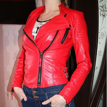 Women faux leather jacket long sleeve PU coat red big size XL XXL motorcycle biker jaquetas casacos de couro feminine coat