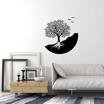 Vinyl Wall Decal Abstract Tree Nature Yin Yang Symbol Stickers (3814ig)
