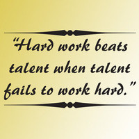 HARD WORK beats TALENT inspirational quote vinyl wall decor art sticker decal