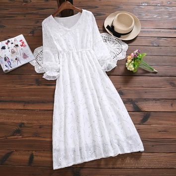 CBAFU mori girl dress women 2018 new spring white print casual dress long sleeve japanese vintage dress femme vestidos X473