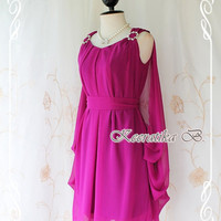 Garden Party - Gorgeous Goddess Fuchsia Cocktail Dress Wedding Prom Party Night Bridesmaid Birthday Dress Fully Back Overlay S-M