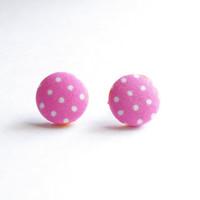 Pink and White Polka Dot Print Fabric Covered Button Earrings NICKEL FREE