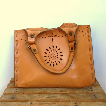 Morgan Cowgirl Bag, Carved Leather Bag, Folk Festive Native Camel Handbag, Distressed Leather Rustic Ranch Bag, Tan Leather Purse, Bohemian
