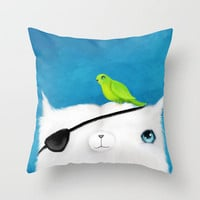 Pirate Cat Throw Pillow by Dale Keys | Society6