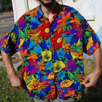 early 90's unionbay neon tropical floral button up short sleeve oxford size large 100% rayon