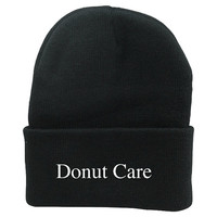 Tumblr Beanie with heat pressed writing Donut Care  most popular on pintrest