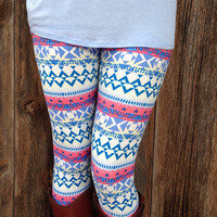 Sweet Aztec Leggings - One Size / Blue