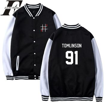 Trendy LUCKYFRIDAYF Louis Tomlinson One Direction Baseball Jacket Women Hoodies Capless Sweatshirt Hoodies 2018 Women Jacket Clothes AT_94_13