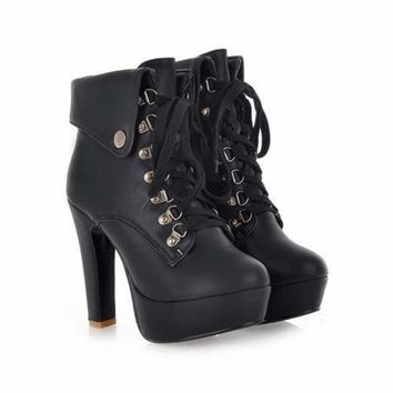 Lace-up Ankle High Heels Motorcycle Platform Booties