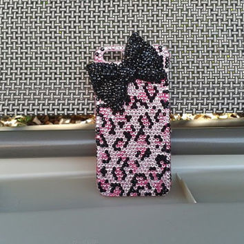 Handmade Bling sparkle diamond crystal pearl Rhinestone iPhone 4 4s iPhone 5 5s 5c case cover samsung s3 s4 note leopard case pink 3d bow